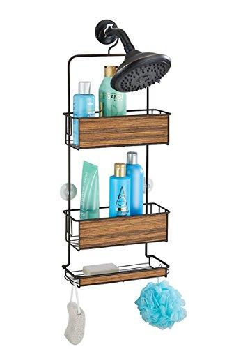 mDesign Hängeregal für die Dusche - Duschregal ohne Bohren - einfach einhängen - Duschkorb mit Ablagen und Haken für Shampoo, Conditioner, Seife etc. - bronzefarben/rosenholzfarben