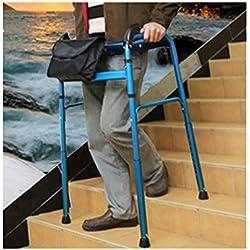 WENTAO Marqueur Pliable de, Cadre de Marche Debout pour Personnes âgées handicapées, pouvant Monter et descendre des escaliers en Alliage d'aluminium 15 Vitesses, Hauteur réglable de 76 à 96 cm, Bleu