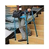 Marqueur pliable de luxe, cadre de marche debout pour personnes âgées handicapées, pouvant monter et descendre des escaliers en alliage d'aluminium 15 vitesses, hauteur réglable de 76 à 96 cm, bleu...