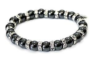 Bijoux Bracelet magnetique, le Bracelet d'Énergie avec Perles magnetique par 800 Gauss et cristal strass, bio énergétique