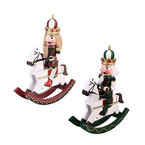 FashLady Set of 2 PCS Hand Painted Soldier Nutcracker On Rocking Horse Walnut Puppet Statue Christmas Decor Toy Gift