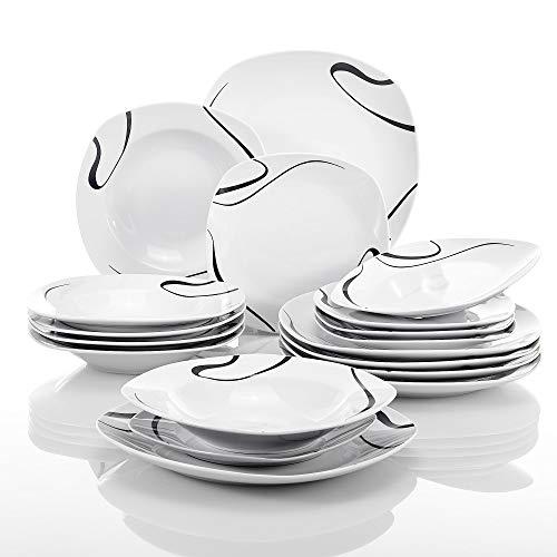 VEWEET Kayla Juegos de Vajillas 18 Piezas de Porcelana con 6 Platos, 6 Platos Hondos y 6 Platos de Postre para 6 Personas