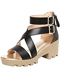 Anguang Donna Luccichio Sandali Zipper Elegante Cavo Piatto Sandali Antiscivolo Nero#2 40