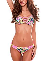 RELLECIGA Maillot de bain Femme deux pièces push up criss cross bikini bow bottom