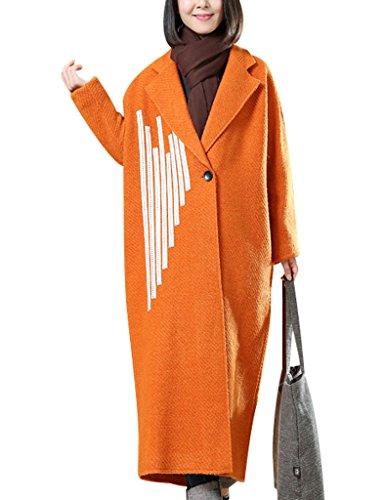Youlee Femmes Un Bouton Longue Manteau Brodé Pardessus Orange