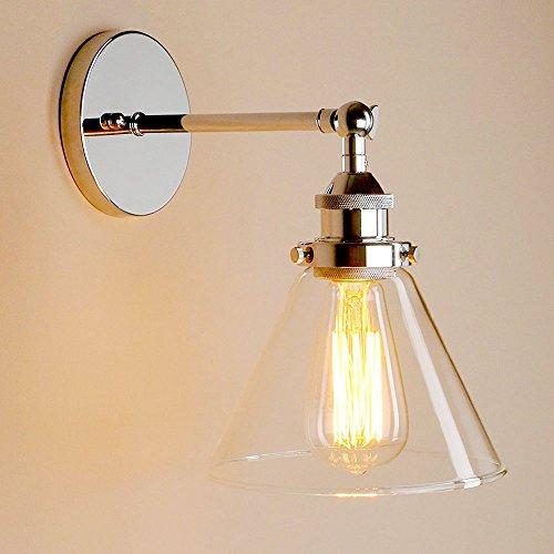 MMYNL Vintage Industrial Trichter Glas Lampenschirm Wand Korridor Licht Chrom für Schlafzimmer Wohnzimmer BAR Flur Badezimmer Küche Innenleuchten (Gusseisen Trichter)