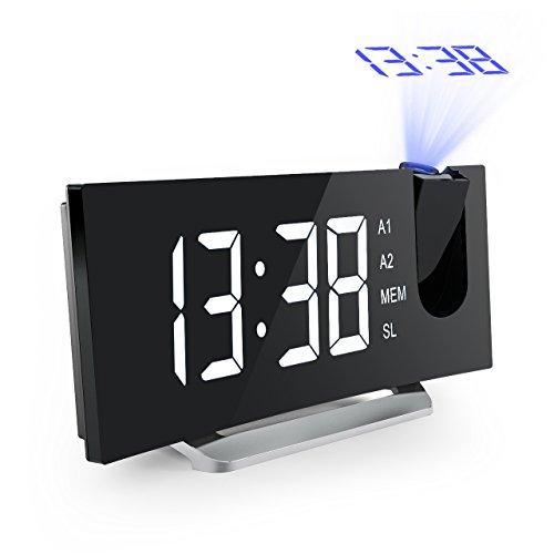 Projektionswecker, Mpow FM Radiowecker 5'' große LED-Anzeige, Radiowecker mit Projektion Uhrenradio digitaler Wecker, Reisewecker, Tischuhr, Dual-Alarm mit USB-Ladeanschluss, 3 Helligkeitsstufen mit Dimmer, 12/24-Stunden, 120° Dreh-Projektor &180° Flip-Projektionsanzeige, Datensicherung mit Batterie am Stromausfall.