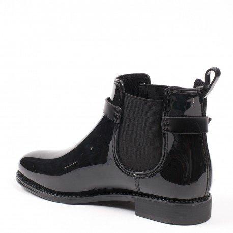 Ideal Shoes - Bottines de pluie chelsea avec ceinturon et franges Micka Noir