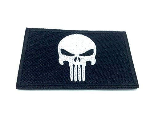 Punisher Schwarz Bestickt Airsoft Klett-Patch