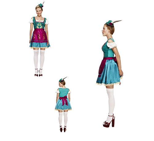 Adult Womens Fever Deluxe Dirndl Costume Fancy Dress Attached Underskirt Hat & Apron Bavarian Beer Festival German Oktoberfest SALE (Large UK 16-18)