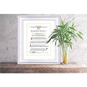 Goldene Hochzeit - liebevoll gestalteter, personalisierter Kunstdruck als Glückwunsch und Geschenk zur goldenen Hochzeit - 24 x 30 cm mit Passepartout - ohne Rahmen