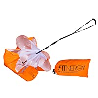 """F1TNERGY RUNNING Resistance PARACHUTE Trainer Durable 56"""" ORANGE Speed Sprint Training Chute - FREE Carrying Bag - Maximize & Explosive Acceleration - Soccer Football Agility Ladder Speed Rope"""