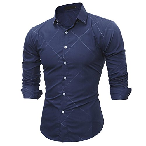 Silm Fit Bluse Shirt für Herren, Amlaiworld Langarm Bluse Shirt (XL, Marine) (Grau Training Shirt Marine)