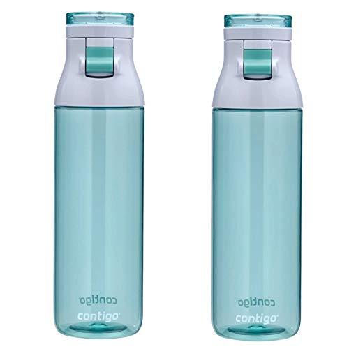 Contigo Jackson Water Bottle 24oz Jade Flip-Top Cap BPA Free Plastic (2-Pack) (Jade Contigo)
