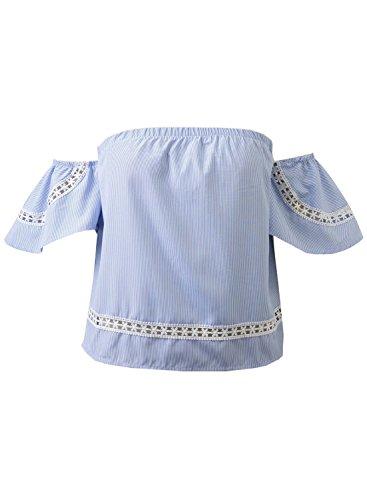 Futurino Damen Sommer Bandeau Vertical Streifen Lace Patchwork Shirt Bluse Top Oberteiles Blau