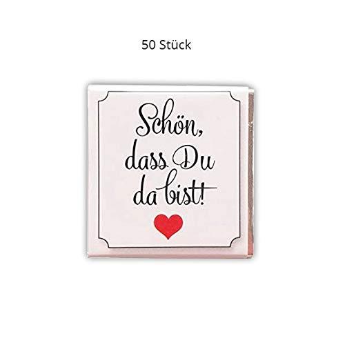 Schokoladentafeln 50 Stück Hochzeit Gastgeschenk Schön, dass Du da bist Schokolade Tafel