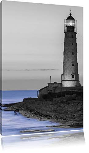 alter Leuchtturm bei Sonnenuntergang schwarz/weiß, Format: 80x120 auf hochkantiges Leinwand, XXL riesige Bilder fertig gerahmt mit Keilrahmen, Kunstdruck auf Wandbild mit Rahmen, günstiger als Gemälde oder Ölbild, kein Poster oder Plakat