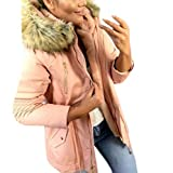 TianWlio Mäntel Herbst Winter Damen Jacken Parka Warme Jacken Strickjacken Mode Winter Warm Military Kapuzenjacke Lässig Kunstpelz Mantel Outwear Rosa XXXL