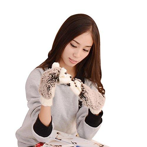 ESAILQ Herbst Winter Handschuhe Frauen Handschuhe Cartoon Gestrickter Igel Handschuh (Weiß Cartoon-handschuhe)