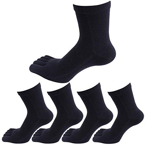 Panegy - 5 Paires de Chaussettes Cinq Doigts De Pieds Pour Homme en Coton Confortable et Respiration - Chaussettes à Motif - Uni - Noir