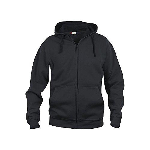 Felpa maglia cardigan full-zip cappuccio uomo cotone CQ021034 - Nero, 4XL
