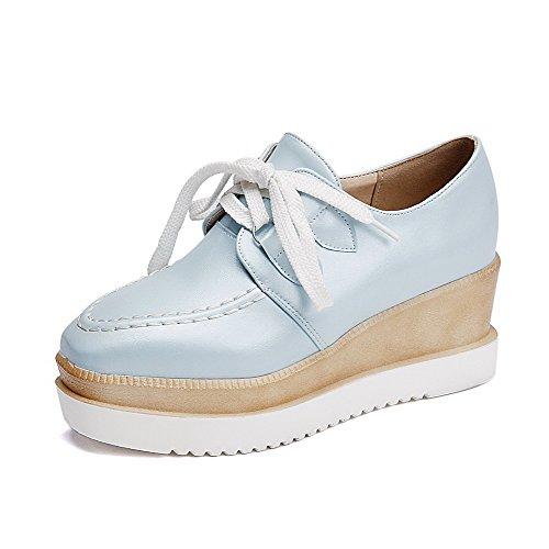 VogueZone009 Femme Pu Cuir Couleur Unie Lacet Fermeture D'Orteil Carré Chaussures Légeres Bleu