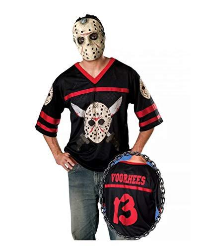 Horror-Shop Jason Voorhees Kostüm-Shirt mit Maske für Halloween One Size (Jason Voorhees Kostüme)