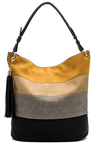 Handtaschen Damen Hobo Henkeltaschen Frauen Handtaschen Quaste Fransen Schultertaschen Designer Umhängetasche (Schwarz-stoff-quaste)