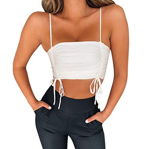 Yvelands Frauen Tanktops Fashion Womens Sexy Bandage Geraffte Kurze Schulterfrei Camis Weste(Weiß,S)