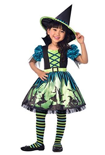 cus Pocus Grün Blau Halloween Hexe Welttag des Buches Kostüm Kleid Outfit mit Hut 3-8 Jahre - 4-6 Years ()