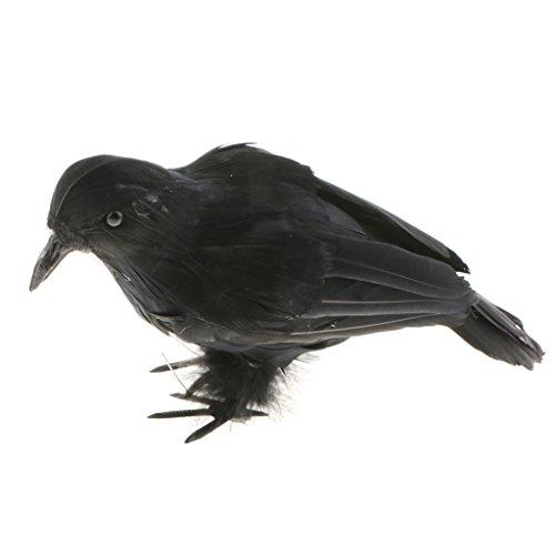 MagiDeal Rabe/Krähe Figur mit schwarzen Federn, Gothic Dekor für Thema Party/Halloween - # 1 Schwarz