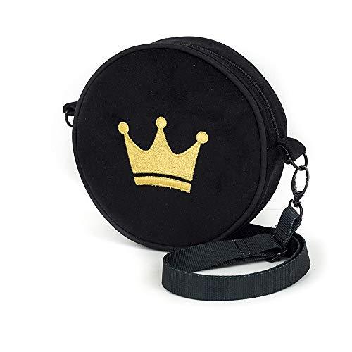 Little Princess Collection Runde Handtasche mit Stickerei/Geldbörse mit Goldkrone/kleine Geldbörse mit der kleinen Prinzessin/Premium Quality Made in Europe
