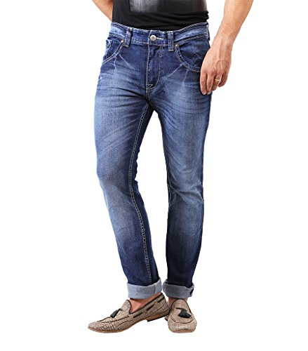 Spykar Dark Blue Washed Slim Fit Jeans(Size-38)  available at amazon for Rs.999