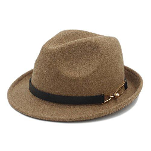 COOHO Kirche Derby Cloche Sun Cap Frauen Männer Chapeau Femme Fedora Hut Für Gentleman Sombrero Cap Elegante Dame Trilby (Farbe : Khaki, Größe : 57-58 cm)