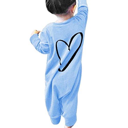 Overdose Neugeborene Kinder Baby Jungen Mädchen Druck Strampler Overall Jumpsuit Outfits Romper Kleidung (0-6 Monate, A-Blue)