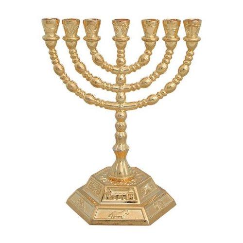 7Ast Sechskant Fuß 12Stämme von Israel Menora in Gold