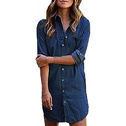 StyleDome Mujer Blusa Camisa Vaquera Larga Mangas Largas Casual Elegante Oficina Azul Oscuro EU 48