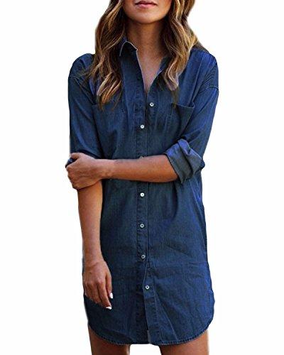 Styledome donna camicia manica lunga jeans moda shirt bluse maglia casual elegante basic blu scuro it 56