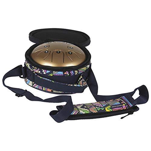 Tambour Handpan Brahma à languette Mmbat en acier mebite - 14 cm - Petit tambour ; Instrument de musique avec baguettes et sac de style national doré Img 4 Zoom