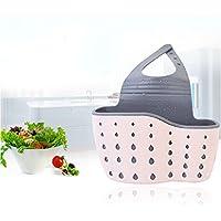 TiooDre - Bandeja para fregadero de cocina, jabón, esponja, desagüe, puerta de baño, grifo, fregadero, estropajo, cesta de almacenamiento, organizador de cocina, color rosa