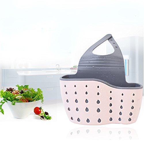 TiooDre Kreative nützliche PP + Gummi Saugnapf für Spüle Seifenschale Schwamm Küchenregal Küchenutensilien Aufbewahrungstasche Küchenutensilien (Rosa) (Gummi Küchenutensilien)