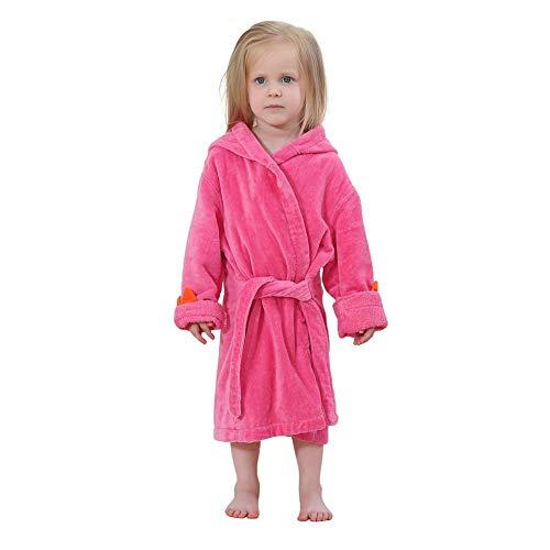 AFFEco Bademantel für Kleinkinder, süßer Dinosaurier, mit Kapuze, Baumwolle, warmes Badetuch, rot, 2-4T - 4t-kapuzen-handtuch