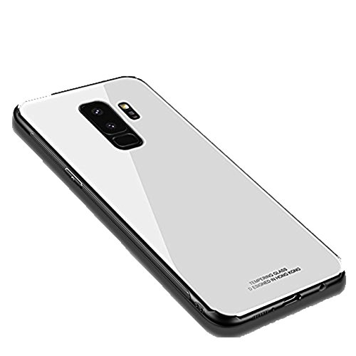 Kompatibel mit Galaxy S9 Hülle, Silikon Handyhülle Galaxy S9 Plus Tempered Glass Back Cover with Soft Silicone Bumper Schutzhülle Weich TPU Silikonhülle Hard Case für S9+ (Weiß, Galaxy S9 5.8'') Back Cover Blende