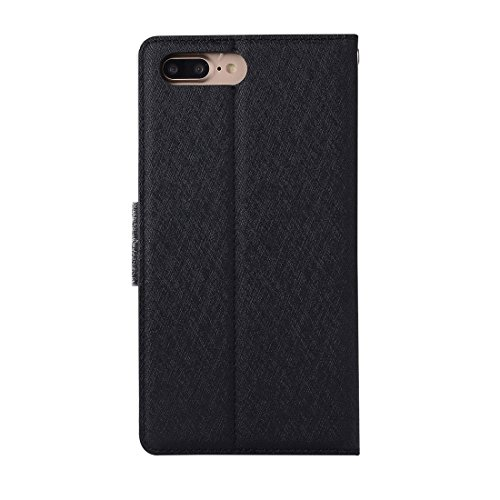 Wkae Silk Texture Horizontale Flip Leder Tasche mit Geldbörse & Halter & Card Slot & Foto Frame für iPhone 7 Plus ( Color : Rose gold ) Black