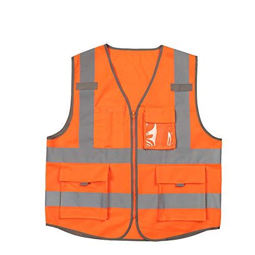 XOXO Hohe Sichtbarkeit Weste Warnung Sicherheit Kleidung BAU Schutzkleidung Administrative Weste Weste mit Telefon Fluorescent Orange