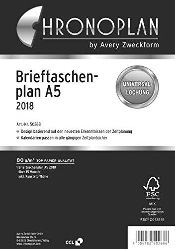 Chronoplan 50268 Brieftaschenplaner (A5, Kalendereinlage 2018, 15 Monate) weiß
