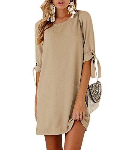 YOINS Sommerkleid Damen Tshirt Kleid Rundhals Kurzarm Minikleid Kleider Langes Shirt Lose Tunika mit Bowknot Ärmeln Khaki EU36-38(Kleiner als Reguläre Größe) - Khaki T-shirt Kleid