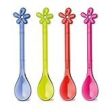 Koziol Löffel-Set Happy Spoon A-Pril, Kunststoff, Transparent Blau/Oliv/Pink/Rot, 1.2 x 2.9 x 15.1 cm
