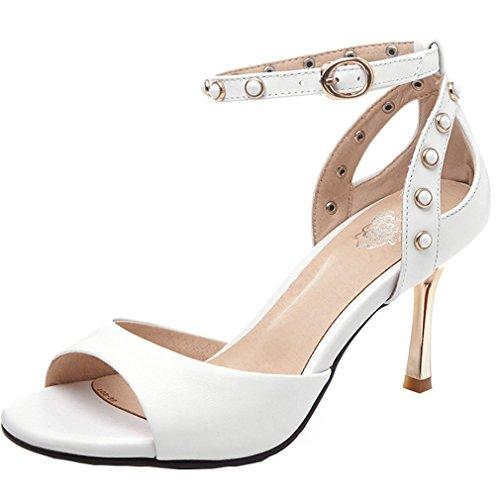 ENMAYER Womens Lackleder Knöchelriemen Blockabsatz Soffen Zehe Plateau Sandalen Büro Wölbungen Mode Schuhe weiß#3