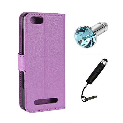 Lusee Kunstliches Leder Tasche für Doogee X20 / 20L 5.0 Zoll Ledertasche Case Cover mit Silikon Hülle Etui Schutzhülle Standfuntion (Violett) + Gratis Touchpen Staubschutz